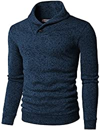 Mens Knitted Slim Fit Pullover Sweater Shawl Collar With One Button Point