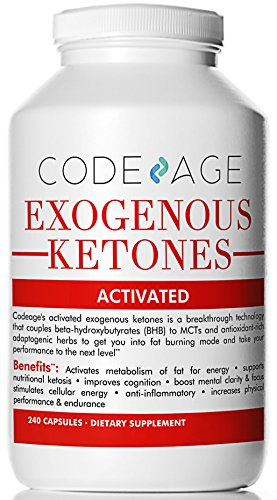 Codeage Exogenous Ketones Capsules - 240 Count - Keto Diet Supplement with BHB Salts as Exogenous Ketones, Electrolytes and Caffeine by Code Age