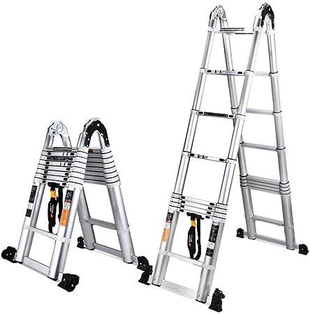 FLYSXP Escalera telescópica multifunción Plegable en Espiga Inicio Escalera de ingeniería Escalera Exterior Escalera de aleación de Aluminio Taburete Plegable (Size : 1.9+1.9m): Amazon.es: Hogar