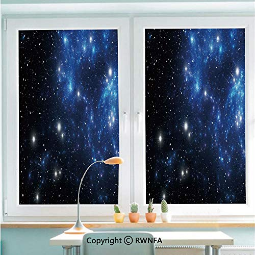 RWNFA Removable Static Decorative Privacy Window Films Outer Space Star Nebula Astral Cluster Astronomy Theme Galaxy Mystery for Glass (22.8In. by 35.4In),Blue Black White