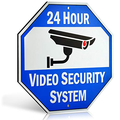 Bigtime Designs Aluminum Surveillance Sign, Stop Trespassing, 24 Hour Security Camera Warning Graphic, 1/8