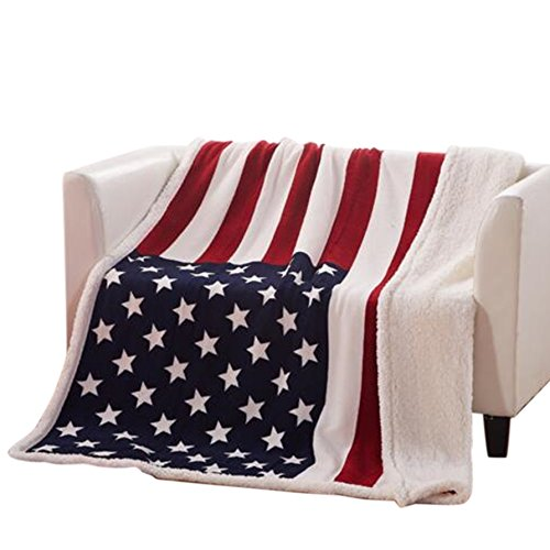 USTIDE The American Flag Fleece Blanket Super Soft Sherpa Throw Blanket Comfort Caring Gift Blanket ()