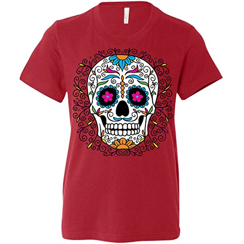 Dia De Los Muertos Pastel Sugar Skull Youth T-Shirt/tee - Canvas Red Small ()
