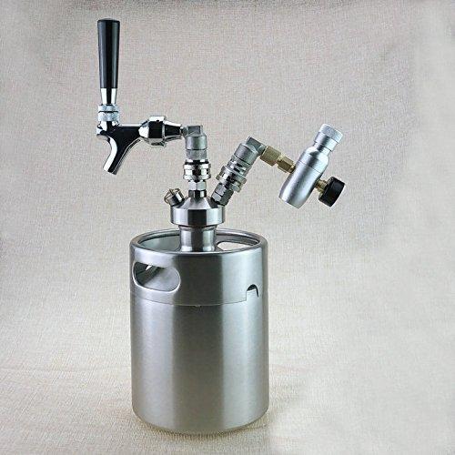 - BELONG Hot New Home Brewing 5L Mini Beer Keg Growler + Mini Tap Dispenser with Draft beer Faucet + Co2 keg charger kit