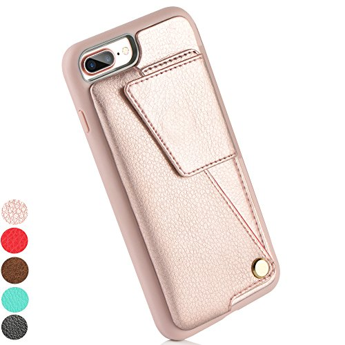 iPhone 8 Plus Wallet Case, ZVE iPhone 7 Plus Card Holder Case, Protective Shockproof Leather Wallet Case with Card Holder for Apple iPhone 8 Plus (2017) / iPhone 7 Plus (2016) - Rose Gold (Rose Lager)