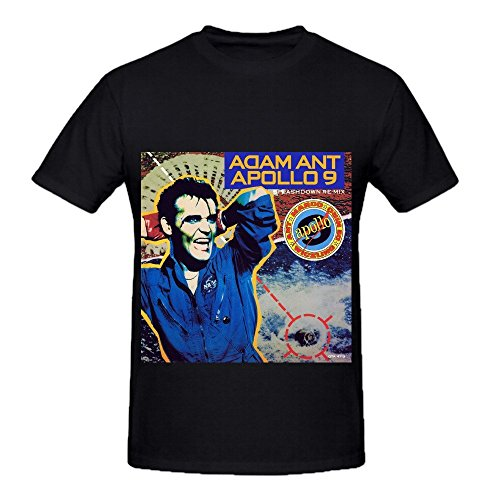 Adam Ant Apollo 9 Splashdown Re Mix Soul Mens Crew Neck Graphic Shirts Black (Indulgence Kit)