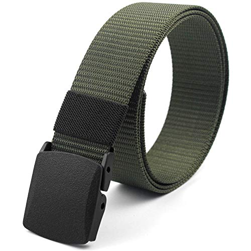 CoreLife Nylon Tactical Belt for Men, Adjustable Casual Outdoor Heavy Duty Military Web Belt with Durable Plastic Buckle - Military Green (Military Nylon Web Belt)