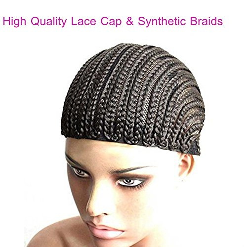 Clip in Cornrow Crochet Braided Wig Cap, Crochet Braids on a wig Cap 2pack/lot black color ()