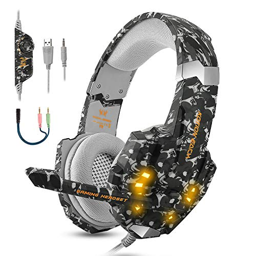 EasySMX Gaming Headset for Xbox One S, X, PS4, PC with Soft Breathing Earmuffs, Adjustable Mic, Comfortable Mute & LED…
