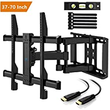 TV Wall Mount Bracket Swivel Full Motion for Most 37-70 inch LED, LCD, OLED, Flat Screen,Plasma TVs up to 132lbs VESA 600x400mm with Tilt, Swivel and Rotation HDMI Cable by PERLESMITH