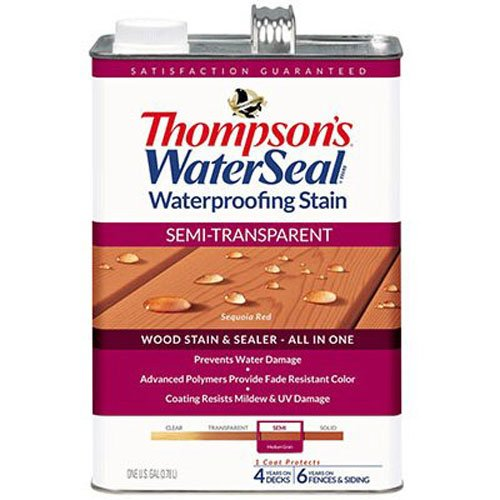 THOMPSONS WATERSEAL 042851-16 Semi Transparent Stain Medium Grain, Cedar - 1 Gallon, 1 Coat protects 4 years on Decks & 6 years on Fences & (Semi Transparent Stain)