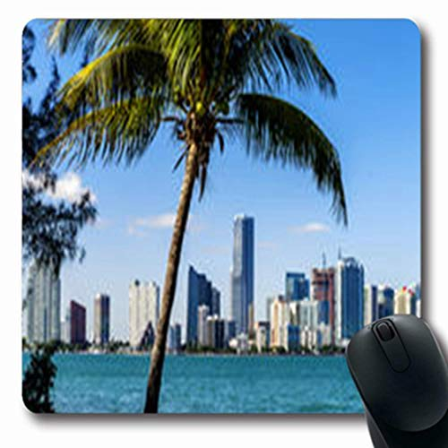 Mousepads Reflection Miami Downtown Skyline Daytime Coastline Biscayne Bay Parks Outdoor Florida Oblong Gaming Mouse Pad Non-Slip Rubber Mat