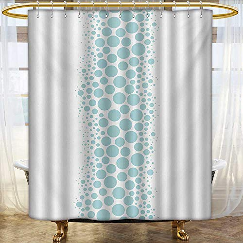 - lacencn Under The Sea,Shower Curtains Fabric,Ocean Dive Inspired Image with Circle and Geometric Bubbles Art Print,Bathroom Decor Set with Hooks,Sky Blue and White,Size:W36 x L84 inch