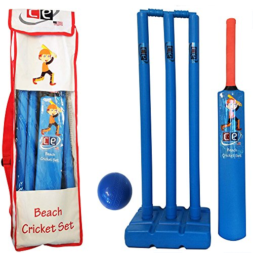 Ce Cricket Equipment Usa Beach Cricket Set For Kids Plastic Water Proof Contents Bat Ball Stumps Bail And Carrying Bag Kids Size 6