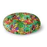 KESS InHouse Shirlei Patricia Muniz Tropical Style Yellow Nature Round Floor Pillow