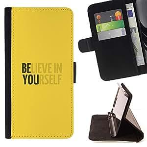 Crea en sí mismo motivación Amarillo- Modelo colorido cuero de la carpeta del tirón del caso cubierta piel Holster Funda protecció Para Samsung Galaxy S6