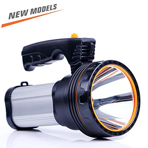 ROMER LED Rechargeable Handheld Searchlight High-power Super Bright 9000 MA 6000 LUMENS CREE Tactical Spotlight Torch Lantern Flashlight (Silver)
