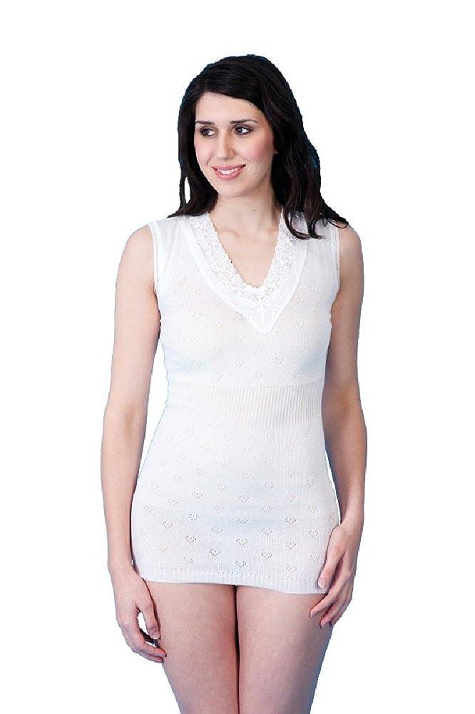 LWS Ladies Thermal Underwear Sleeveless V Neck Spencer Vest Top White