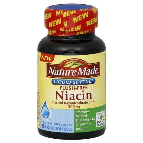 Nature Made Flush Niacin sans 500 mg, gélules liquides, 60-Count