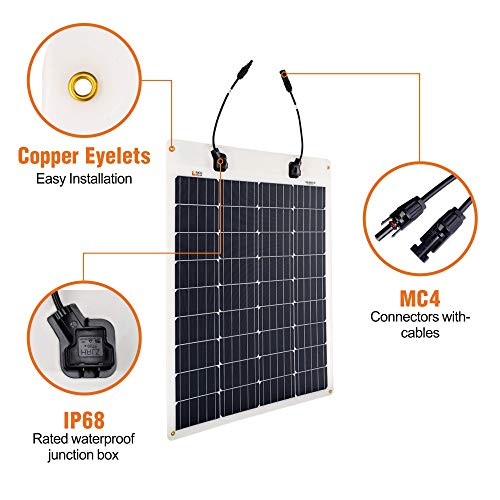 Richsolar 80 Watt 12 Volt Extremely EFTE Flexible Monocrystalline Solar Panel Ultra Lightweight