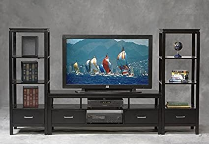 Amazoncom Contemporary Plasma Tv Console W 2 Side Towers Electronics