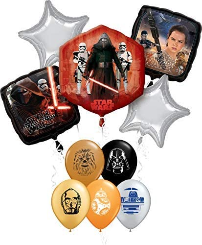 Star Wars 2nd Birthday Party Supplies Foil Balloon Bouquet Decorations with 5pc Star Wars 11 Inch Character Print Latex Balloons Chewbacca Darth Vader R2D2 and BB8 C3PO