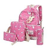 Hot sale!Todaies 4 Sets Women Girl Rabbit Animals Travel Backpack School Bag Shoulder Bag Handbag 6 Colors (4 Sets, Hot Pink)