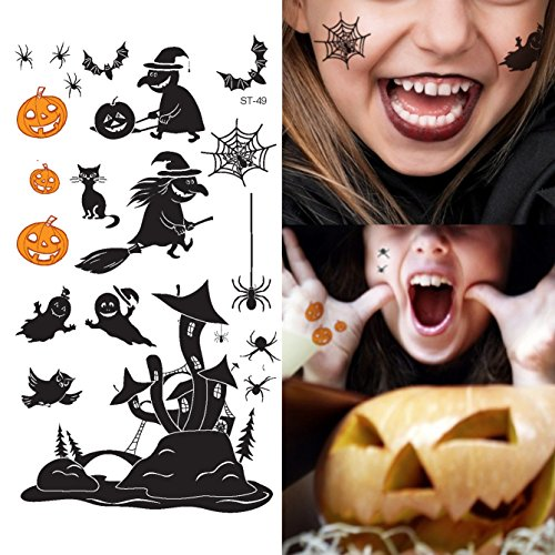 Tattoos Witch - Supperb Temporary Tattoos - Spider, Spider Web, Witch, Ghost, Pumpkin Halloween Tattoos