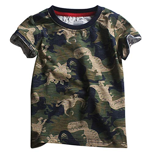 (Kids Camouflage T-Shirts Childs Classic Woodland Camo Shirt Little Boys' Camo Short Sleeve Crew Tee, (Dinosaur,5T))