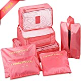 SGM Packing Cubes Travel Set of 7 Packing Organizer and Compression Pouches,Travel Luggage Organizer, Storage Bag,Travel Accessories - Shoe, Laundry and Toiletry Bag (Pink)