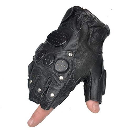ZHANGHUI Mens Fashion Rivet Sheepskin Sports Non-Slip Half Gloves