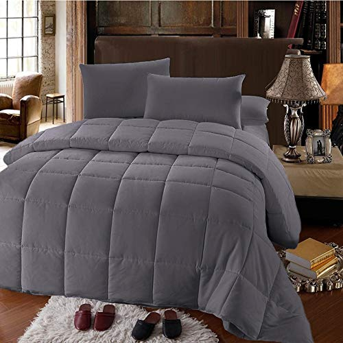 Experience Lavish Comfort with This Twin Extra Long (XL) Gray Down Alternative Comforter; All for Season Convenience and Silky Soft Microfiber with Hypoallergenic Properties