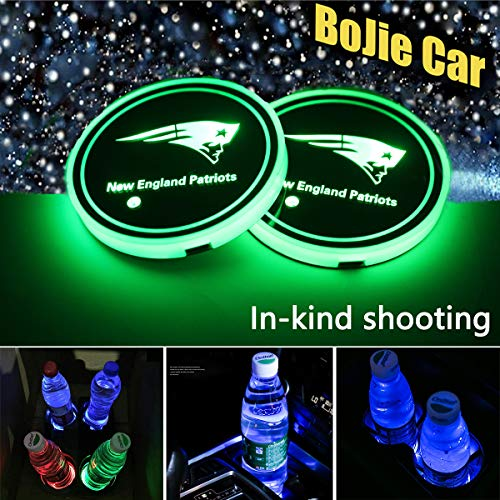2pcs LED Car Logo Cup Holder Lights for New England Patriots, 7 Colors Changing USB Charging Mat Luminescent Cup Pad, LED Interior Atmosphere Lamp Decoration Light. (New England Patriots)