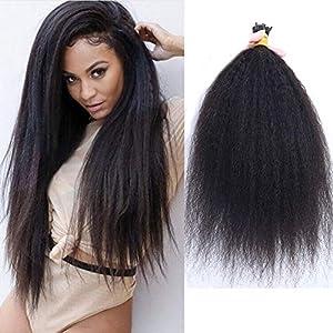 Kinky Straight I Tip Human Hair Extension Brazilian Remy Stick I Tip Hair Afro Coarse Yaki Microlinks Fusion I Tip Hair…