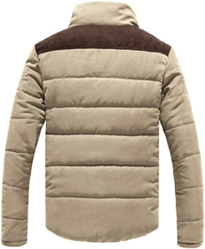 Colmkley Mens Down Jacket Casual Zip Stand Collar Thick Peach Skin Outwear Coat