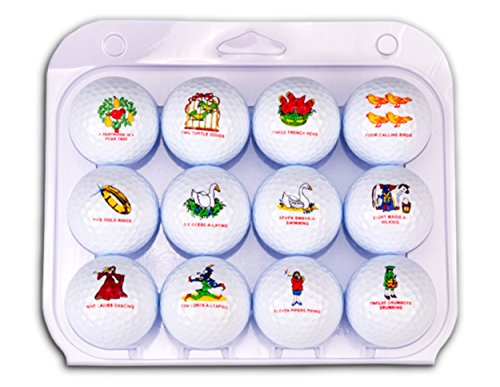 Christmas Golf Balls, Twelve Days of Christmas Themed - Authentic and PGA Approved, Mens and Womens Golf Balls. The Best Christmas Gift for a Golfer!]()