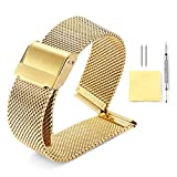 BINLUN Metal Mesh Watch Band 4 Color(Gold,Sliver,Black,Rose Gold) 12 Size(10mm,12mm,13mm,14mm,15mm,16mm,17mm,18mm,19mm,20mm,21mm,22mm)