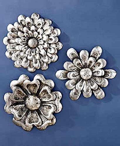 Set 3 Pewter Flower Floral Metal Wall Art Sculpture Metallic Finish Decor