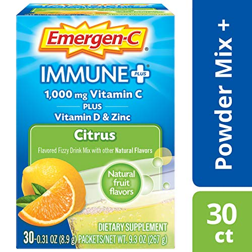 Emergen-C Immune+ (30 Count, Citrus Flavor) System Support Dietary Supplement Fizzy Drink Mix With Vitamin D, 1000mg Vitamin C plus Antioxidants & Electrolytes, 0.31 Ounce Packets
