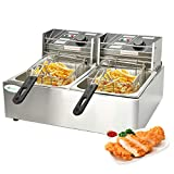 Nurxiovo Commercial Electric Deep Fryer with Double Basket -Nurxiovo Large Countertop Stainless Steel 2 Baskets Deep Fryer French Fries Restaurant Home Kitchen 2 Tank