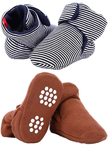 (Tatuo 2 Pairs Baby Winter Booties Infant Crib Boots Newborn Baby Slippers with Anti-Slip Bottom Sole for Infant Toddler Supplies (13 cm, Color Set 1))