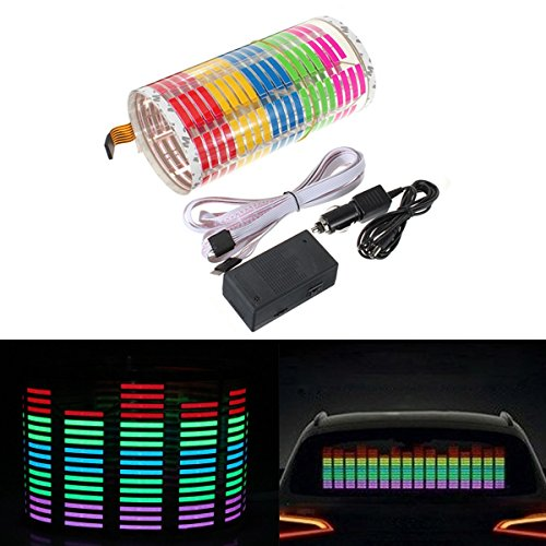 - DIYAH Auto Sound Music Beat Activated Car Stickers Equalizer Glow LED Light Audio Voice Rhythm Lamp 70cm X 16cm / 27.5in X 6.3in (Multi Color)