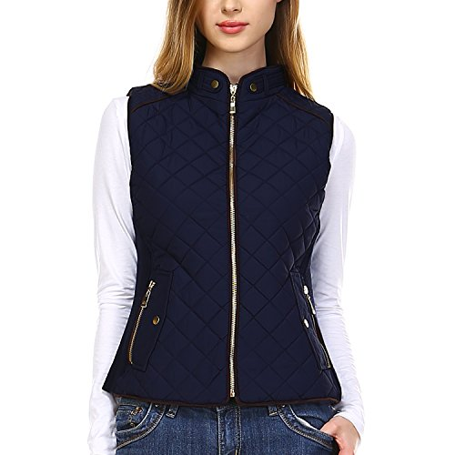 Fashionazzle Women's Lightweight Suede Contrast Quilted Vest Padding Jacket (Small, AV01-Navy) ()