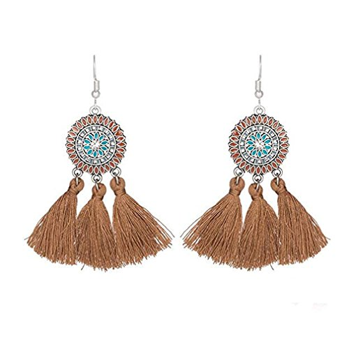 SOURBAN Bohemian Fringe Earrings Colorful Vintage Ethnic Sunflower Tassel Dangle Earring Eardrop,Coffee Color