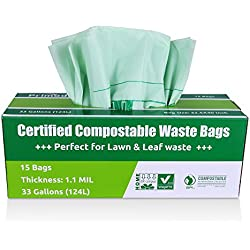 Primode Compostable Bags, Lawn And Leaf Extra Large Trash Bags, 100% ASTMD6400 Certified Biodegradable Compost Bags 33 Gallon, Certificated By US BPI And European VINCETTE, Extra Thick 1.1 Mil (15)