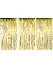 Toyvian 3pcs Foil Fringe Curtain Gold Metallic Photo Booth Tinsel Backdrop Door Curtains for Wedding Birthday Special Festival Party Decoration (Gold)