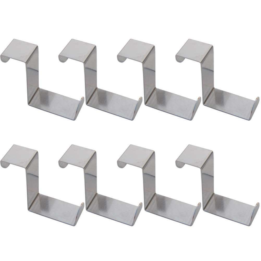 8 PCS Over The Door Hooks,Z-Shaped Reversible Sturdy Hanging Hooks Dual Head Single Hanger for Over The Door or Cupboard Door,Drawer, Saving Organizer Hanger Hold up to 11Lbs Stainless Steel