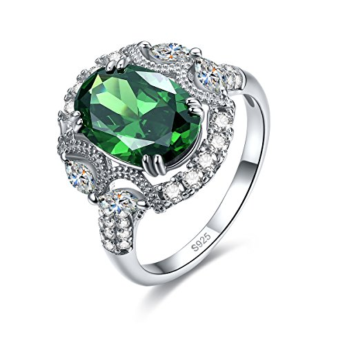 Merthus Womens 925 Sterling Silver Created Emerald Halo Promise (Lab Created Emerald Stone)