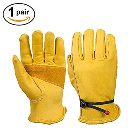 Heavy Duty Grain Cowhide Extra Wear Palm Leather Work Gloves For