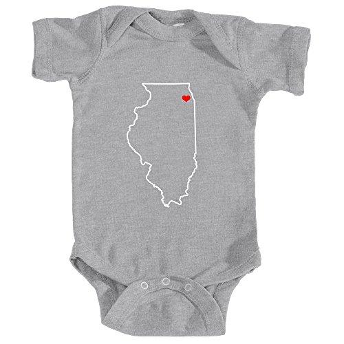 Heart/Love Chicago, Illinois - Unisex Infant Baby Onesie/Bodysuit (6MOS, Heather Grey) (Chicago Il Ave Michigan)